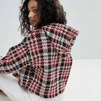 Bershka Knitted Check Cropped Hoodie at asos.com