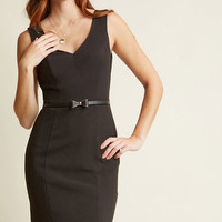 Sleeveless Belted Sheath Dress in Black