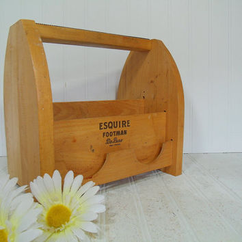 Retro Wooden Shoe Shine Kit Box - Vintage Esquire Footman Deluxe Carrier - Handy Solid Wood Sectioned Tool Tote - Artisan Supplies Carry All