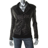Kenneth Cole New York Womens Sequined Zip Wrists Crop Blazer