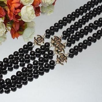 LMFONAY Chanel Woman Fashion Logo Crystal Obsidian Necklace