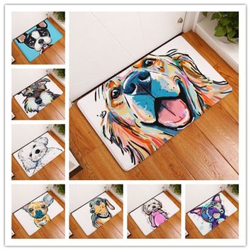 Autumn Fall welcome door mat doormat 2017 Modern Style Lovely Painting Dog Print Carpets Anti-slip Floor Mat Outdoor Rugs Animal Front s AT_76_7