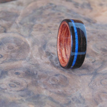 Ebony wooden ring Bubinga liner with lapis lazuli inlay
