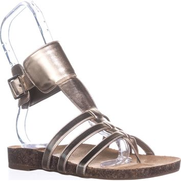 Circus by Sam Edelman Katie Ankle Strap Flat Sandals, Molten Gold, 6 US / 36 EU