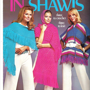 Columbia Minerva Leaflet 2524 for In Shawl Patterns to Crochet and Knit, From 1971, Azalea, Mexicana & More, Vintage Pattern, Home Crafts