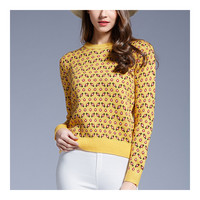 Woman Round Collar Floral Sweater Knitwear   yellow   S