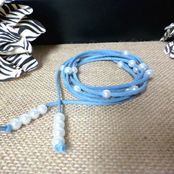 6 Wrap Boho Pale Blue Suede Leather White Pearl Multi Wrap Bracelet, Lariat Choker Necklace, Anklet - Pick COLOR / LENGTH Usa Seller, gift
