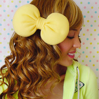 Big Large Minnie Mouse Hair Bow Clip Yellow