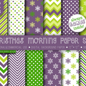 12 Christmas Morning Paper Digital, 12 x 12, white purple green, party invitation cards, snowflakes chevron paper, winter digital paper