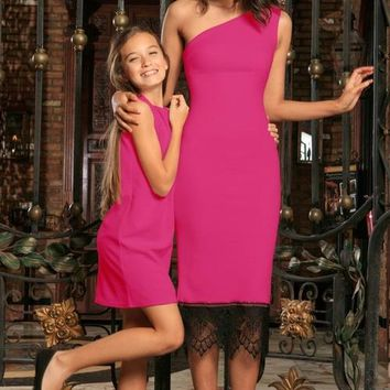 Fuchsia Hot Pink Stretchy Spring Summer Party