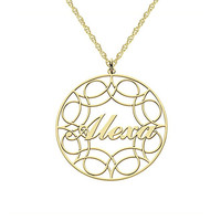 Round Ribbon Name Necklace