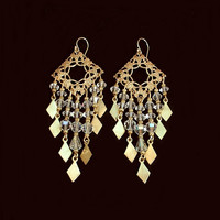 Egyptian ART DECO Crystal Earrings CHANDELIER Filigree Wedding Bridal Jewelry C.1920's!
