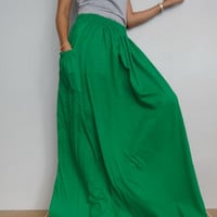 Women Maxi Long Skirt , Casual Gypsy, Bohemian , Cotton Blend In Soft Green (Skirt *M12).