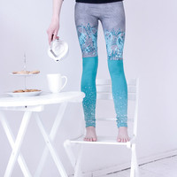 Gray mint stocking leggings with mint print animals by ZIBtextile