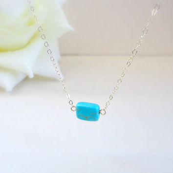 Turquoise necklace, Single turquoise necklace, Wedding jewelry, Bridesmaid necklace, Simple everyday necklace