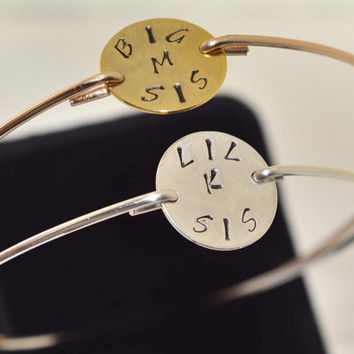 Personalized Bangle Bracelet,1-3 Big Little Sorority Bangle Bracelet,Sister Gift,Big Sister Bracelet,Big Sister Bangle,Little Sister Bangle