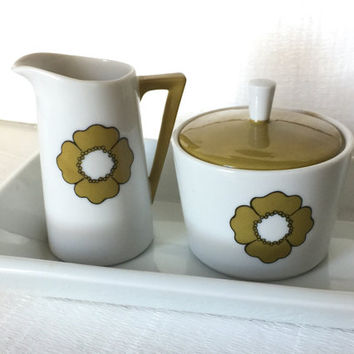 Mid Century Modern Sugar and Creamer Set, Green and White Lidded Sugar Bowl and Creamer, Ceramic Creamer Set