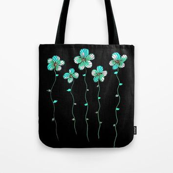 Green Flowers Tote Bag by ES Creative Designs