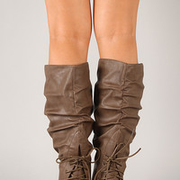 Wild Diva Lounge Kalisa-72 Slouchy Lace Up Boot