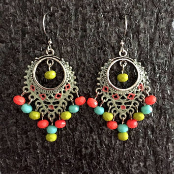 25% OFF Shabby chic Earrings, Cottage chic Earrings, Beaded Earrings, Bohemian Earrings, multi color Earrings, Tribal Earrings, Chandelier E