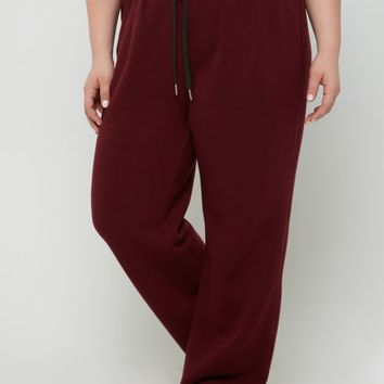 Plus Burgundy Layered Waist Fleece Sweatpant | Plus Joggers & Sweatpants | rue21