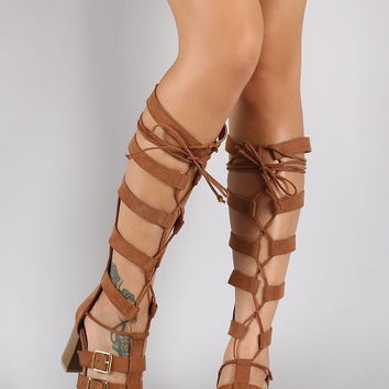 Qupid Suede Buckled Lace Up Gladiator Heel