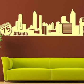 Wall Vinyl Sticker Decals Decor Art Bedroom Design Mural Words Sign Atlanta Town City Skyline (z1016)