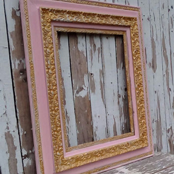 Antique frame, Pink and Gold frame, Large frame, Vintage frame, Shabby Cottage, Paris Chic, French Provincial, Girls Nursery,