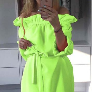 Lime Green Off the Shoulder Waist-tie Mini Dress