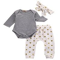 3 pcs Kid Born Baby Girl Infant Kid Set Babies Gray Bodysuit Onesuit+Heart Dots Pant +Headband Outfit Sets Clothing