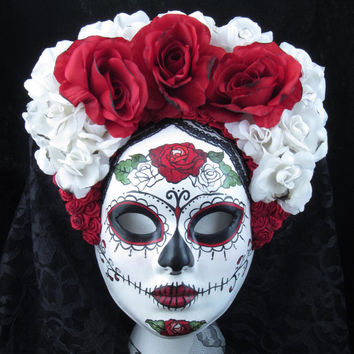 Right Red Mask for Day of the Dead/Dia de los by effigymasks