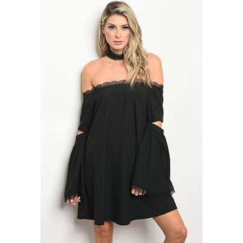 Ladies fashion long sleeve off the shoulder skater dress with lace details