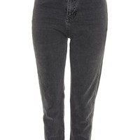 MOTO Dark Grey Raw Hem Straight Leg Jeans