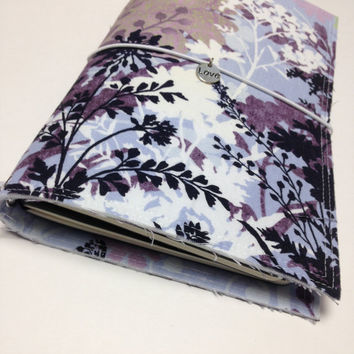 Fabric Fauxdori Travelers Notebook Travel Journal Planner Cover Midori cover Moleskine book style cover with charm- Purple Wild Flowers