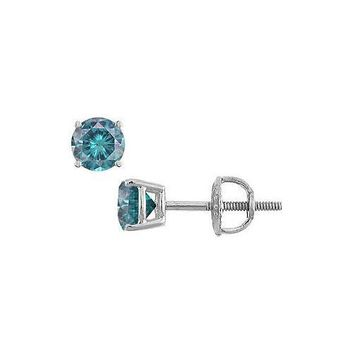 Blue Diamond Stud Earrings : 14K White Gold – 0.50 CT Diamonds
