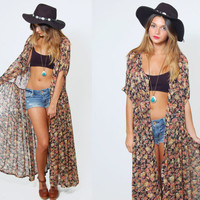 Vintage 90s FLORAL Print  Maxi Dress Boho REVIVAL Pleated Sheer Duster Grunge Floral Kimono