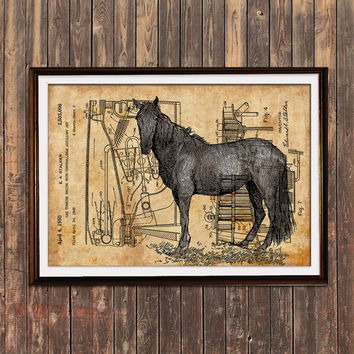 Horse decor Patent print Animal poster Steampunk print SOL143