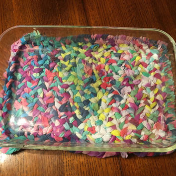 Upcycled Tie Dye Home Decor, Casserole Trivet with OOAK Boho Flair, TieDye Home Accent, Kitchen Decor, Dining Table, Hippie Home, Boho Home
