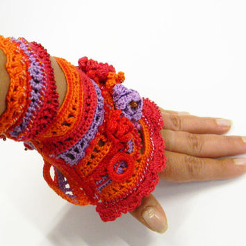 Crochet bracelet cuff  - Free form - boho chic style  cotton thread with colorful crocheted flowers and glass beads