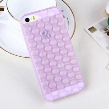 Fashion 3D Bubble Wrap Design Soft TPU Phone Case Cover for iPhone 5 5S (Purple)