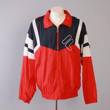 Vintage 80s FILA WINDBREAKER / 1980s Red White & Blue Zip Up Embroidered Logo Jacket L