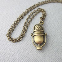 Antiqued Brass Microphone With Chain Necklace Retro Style Double Sided