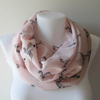 Light Pink Bird Pattern Chiffon Infinity Scarf - Circle Scarf - Loop Scarf - Fall Winter Spring Summer Fashion