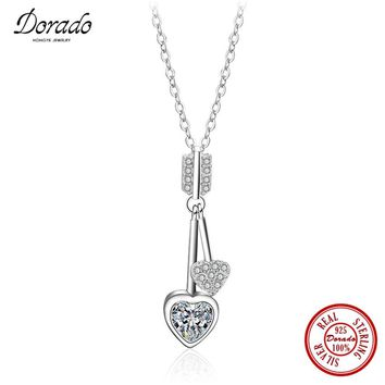 Dorado 925 Silver Jewelry Cupid's Arrows with Zirconia Heart Pendant Necklace for Women Engagement Wedding Gifts