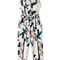 Multicolor V-neck Geo Print Button Front Belt Waist Jumpsuit
