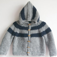 Hand Knitted Baby Boy Wool-Alpaca Hoodie Cardigan, Jacket,Chunky, Duffel Coat, Light Gray and Navy Blue Striped, 12-18 months, READY TO SHIP