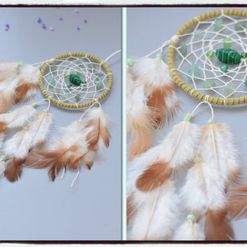 Car Accessory For women< Car Dream catcher< Rear Mirror Charm< AVENTURINE Stone, HOWLITE stone, Wall Hanging.