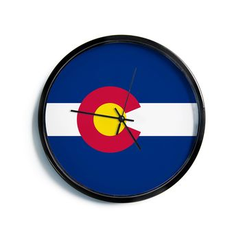 "Bruce Stanfield ""Colorado State Flag"" Blue Red Modern Wall Clock"