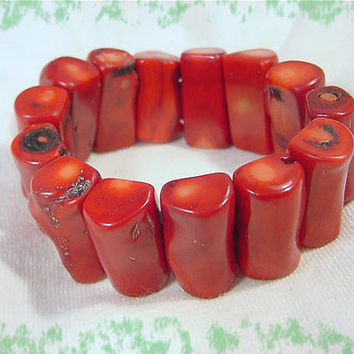 Branch CORAL Wide Stretch Bracelet ~ Bright Red Coral ~ Artisan Treasure - FREE Shipping