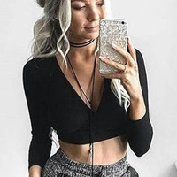 Black Wrap Tie-Waist Crop Top